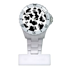 Animal Print Black And White Black Plastic Nurses Watch