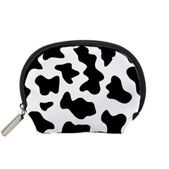 Animal Print Black And White Black Accessory Pouches (small)