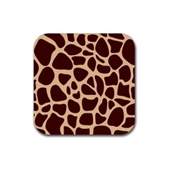 Animal Print Girraf Patterns Rubber Square Coaster (4 Pack)
