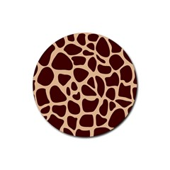 Animal Print Girraf Patterns Rubber Round Coaster (4 Pack)
