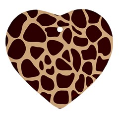 Animal Print Girraf Patterns Heart Ornament (two Sides)