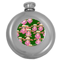 Seamless Tile Repeat Pattern Round Hip Flask (5 Oz)