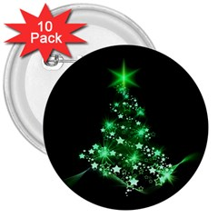 Christmas Tree Background 3  Buttons (10 Pack)