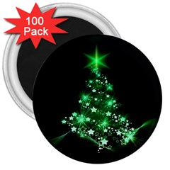 Christmas Tree Background 3  Magnets (100 Pack)