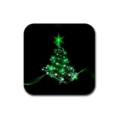 Christmas Tree Background Rubber Square Coaster (4 Pack)