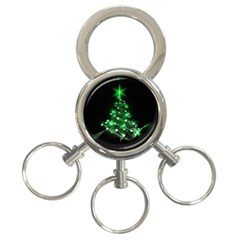 Christmas Tree Background 3 Ring Key Chains