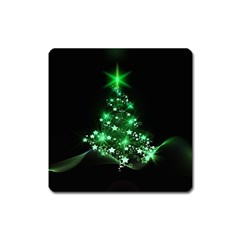 Christmas Tree Background Square Magnet