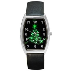 Christmas Tree Background Barrel Style Metal Watch