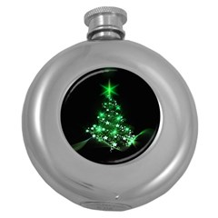 Christmas Tree Background Round Hip Flask (5 Oz)