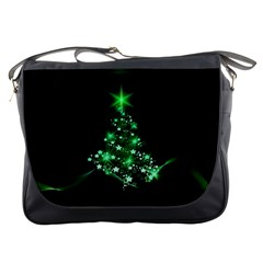 Christmas Tree Background Messenger Bags