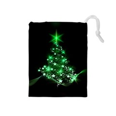 Christmas Tree Background Drawstring Pouches (medium)