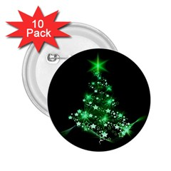 Christmas Tree Background 2 25  Buttons (10 Pack)