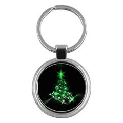 Christmas Tree Background Key Chains (round)