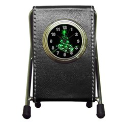Christmas Tree Background Pen Holder Desk Clocks