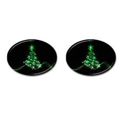 Christmas Tree Background Cufflinks (oval)