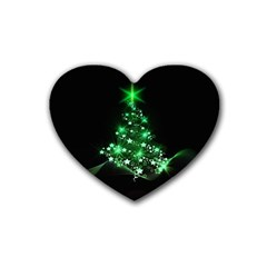 Christmas Tree Background Rubber Coaster (heart)