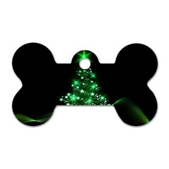 Christmas Tree Background Dog Tag Bone (one Side)