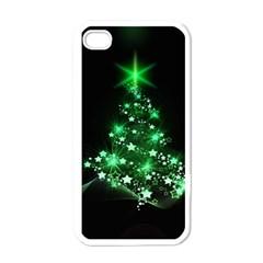 Christmas Tree Background Apple Iphone 4 Case (white)