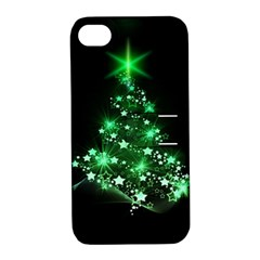 Christmas Tree Background Apple Iphone 4/4s Hardshell Case With Stand