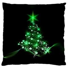 Christmas Tree Background Large Flano Cushion Case (one Side)