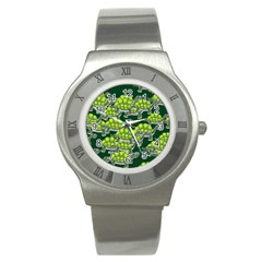 Seamless Tile Background Abstract Stainless Steel Watch