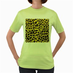 Animal Fur Skin Pattern Form Women s Green T Shirt