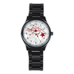 Christmas Star Snowflake Stainless Steel Round Watch