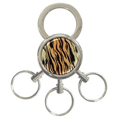 Animal Tiger Seamless Pattern Texture Background 3 Ring Key Chains