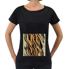 Animal Tiger Seamless Pattern Texture Background Women s Loose Fit T Shirt (black)
