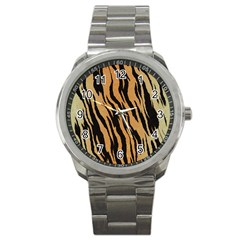 Animal Tiger Seamless Pattern Texture Background Sport Metal Watch