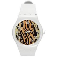 Animal Tiger Seamless Pattern Texture Background Round Plastic Sport Watch (m)