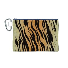 Animal Tiger Seamless Pattern Texture Background Canvas Cosmetic Bag (m)