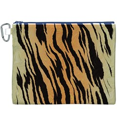 Animal Tiger Seamless Pattern Texture Background Canvas Cosmetic Bag (xxxl)