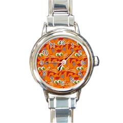 Animals Pet Cats Mammal Cartoon Round Italian Charm Watch