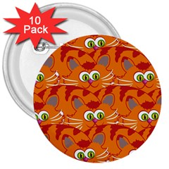 Animals Pet Cats Mammal Cartoon 3  Buttons (10 Pack)