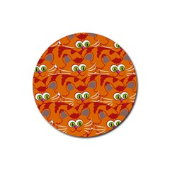 Animals Pet Cats Mammal Cartoon Rubber Coaster (round)