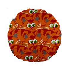 Animals Pet Cats Mammal Cartoon Standard 15  Premium Round Cushions