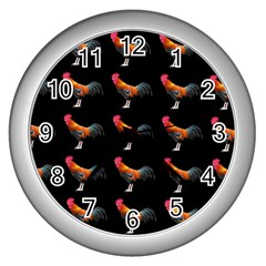 Background Pattern Chicken Fowl Wall Clocks (silver)