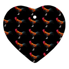 Background Pattern Chicken Fowl Heart Ornament (two Sides)