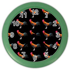Background Pattern Chicken Fowl Color Wall Clocks