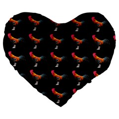 Background Pattern Chicken Fowl Large 19  Premium Flano Heart Shape Cushions