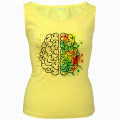 Brain Mind Psychology Idea Hearts Women s Yellow Tank Top