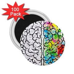 Brain Mind Psychology Idea Hearts 2 25  Magnets (100 Pack)