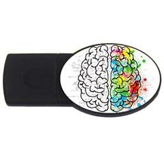 Brain Mind Psychology Idea Hearts Usb Flash Drive Oval (2 Gb)