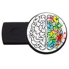 Brain Mind Psychology Idea Hearts Usb Flash Drive Round (4 Gb)