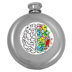 Brain Mind Psychology Idea Hearts Round Hip Flask (5 Oz)