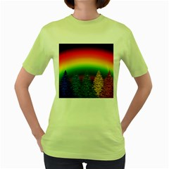 Christmas Colorful Rainbow Colors Women s Green T Shirt