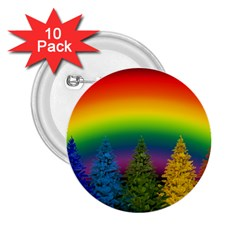 Christmas Colorful Rainbow Colors 2 25  Buttons (10 Pack)