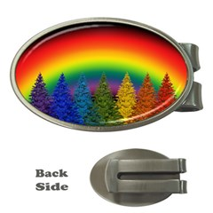 Christmas Colorful Rainbow Colors Money Clips (oval)