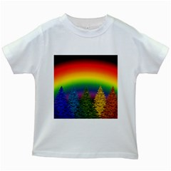 Christmas Colorful Rainbow Colors Kids White T Shirts